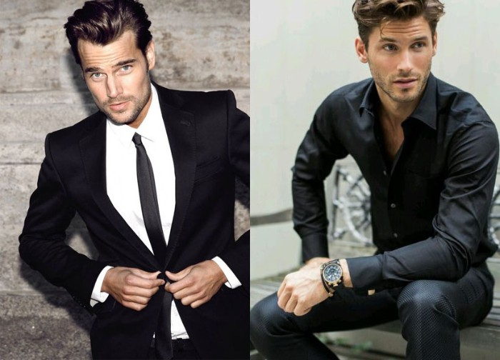 image of a smartly dressed man, in a black suit, with a white shirt, and a black tie, next to a photo of a man, wearing dark trousers, and a black, partially unbuttoned shirt, what is semi formal attire vs formal