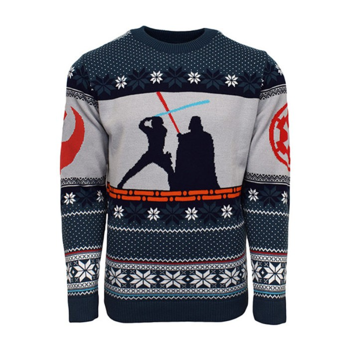 luke skywalker and darth vader, fighting with lightsabres, on a navy blue and grey xmas jumper, with orange details