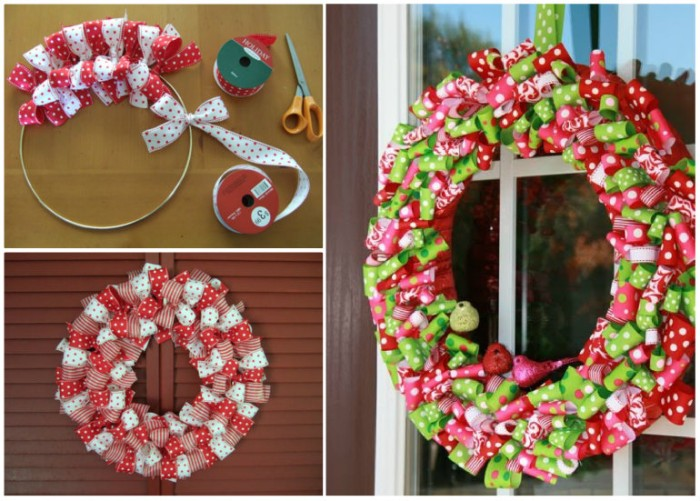 multicolored ribbons tied into dense bows, onto a metal hoop, to form a christmas wreath, how to make a christmas wreath, the easy way