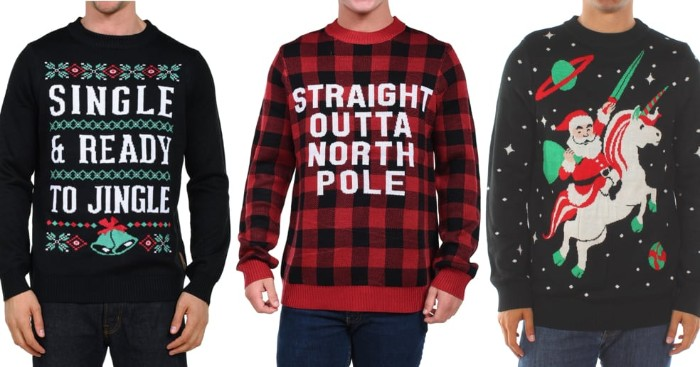 unicorn ridden by santa in space, on a black xmas jumper, red plaid sweater with a funny message written in white, and a black jumper with the phrase, single and ready to jingle, and decorative motifs