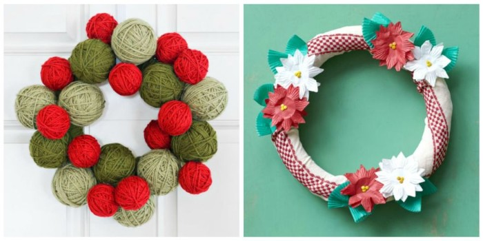 a pair of holiday wreaths, one created by red, beige and kahki green yarn balls, stuck together, the other wrapped in white and red fabric, and decorated with red and white fake flowers