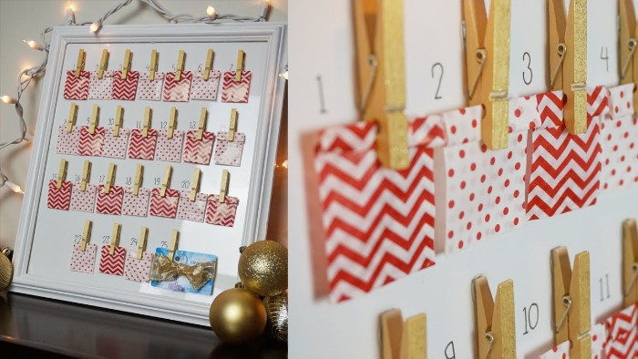 side by side images, showing a framed white board, with 25 small, white and red paper bags, clipped with wooden clothes pegs, christmas countdown calendar, next imag shows a close up, of the paper bags