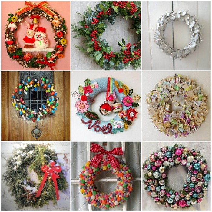 nine diy wreath ideas, candy-themed wreath, made with felt, candy wreath with a red bow, silver leaves wreath, and many more