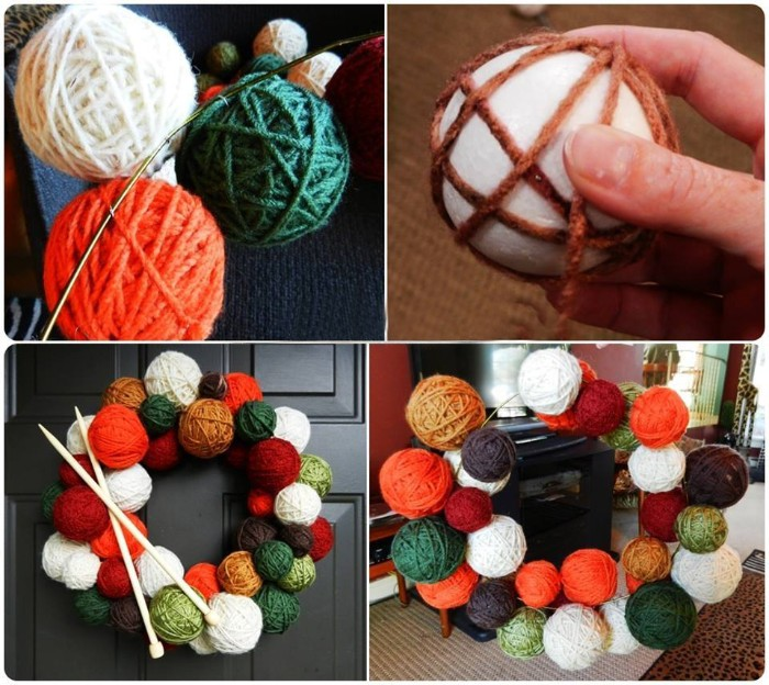 how to make a wreath, with faux yarn balls, hand holding a styrofoam ball, wrapped in a few strands of brown yarn, several completed fake yarn balls, and the finished wreath, decorated with knitting needles, christmas wreath ideas, you can try at home