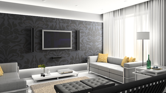 white floor, printed black wall, white and black sofas with yellow throw pillows, grey and yellow carpet, room ideas