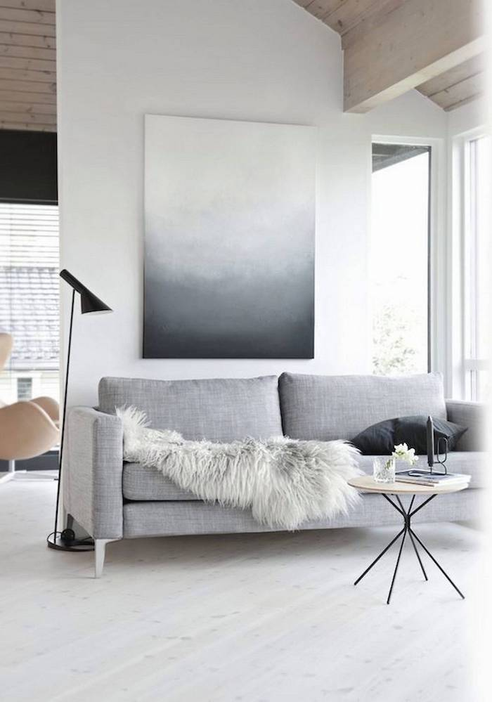 white wall, light wooden floor, light grey sofa, small wooden coffee table, how to decorate a small living room