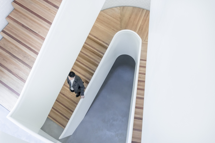 futuristic design of staircases made of wood