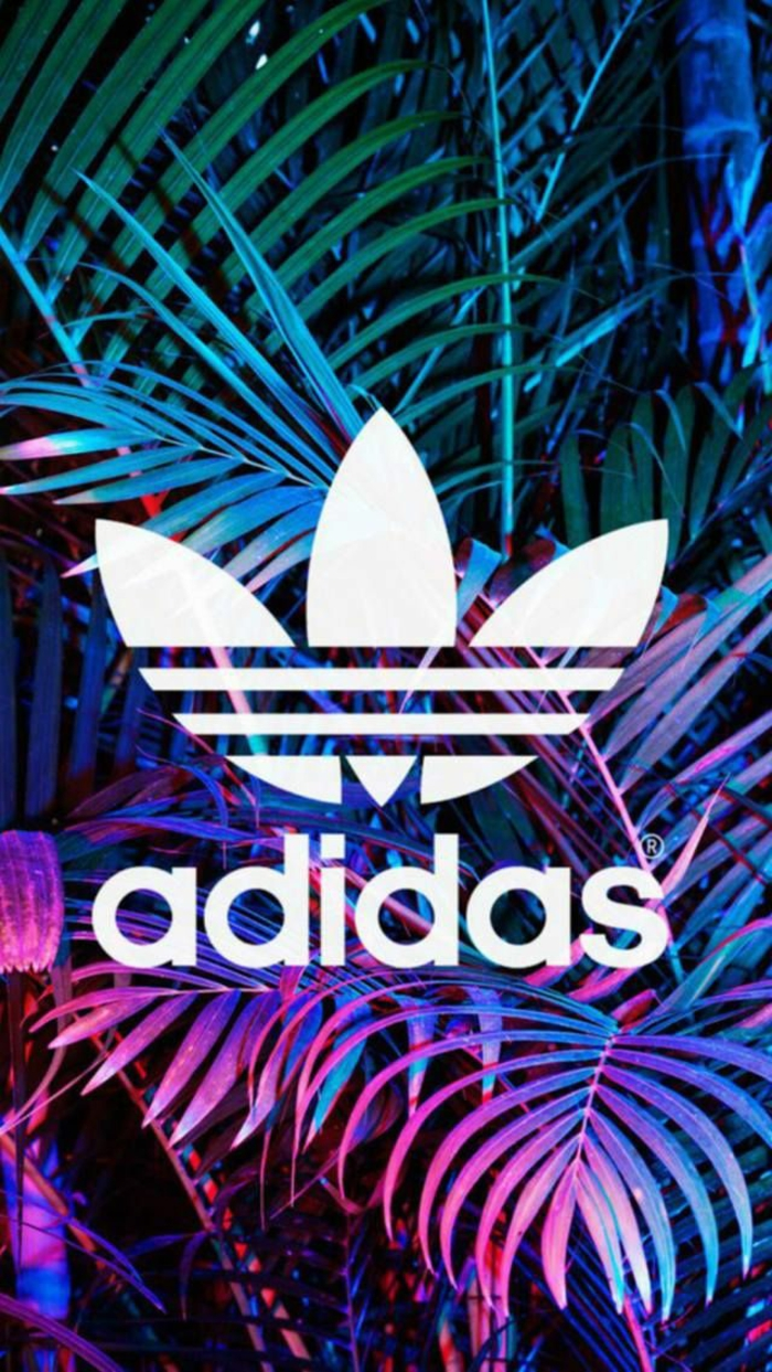 large adidas logo, cool iphone wallpapers, pink and green palm leaves background