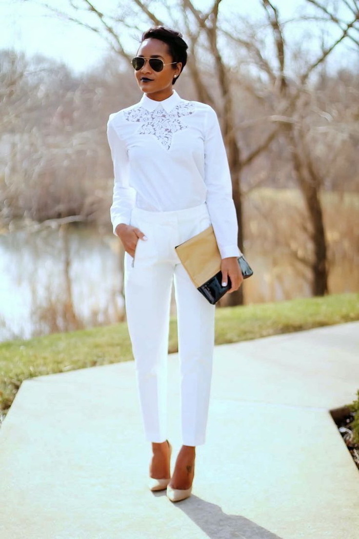 white trousers and shirt, nude shoes, womens business casual clothing, nude and black clutch
