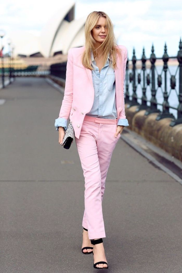 light pink trousers and blazer, denim shirt, business attire for women, black open toe shoes