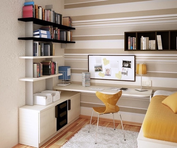 beige striped wall, office design, white bookshelves and desk, small wooden chair, wooden floor