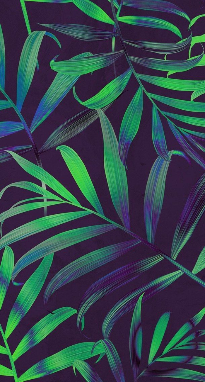 green and blue palm leaves, cute iphone wallpapers, black background