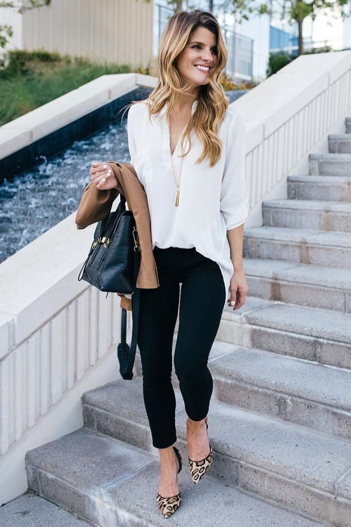 leopard print heels, work clothes for women, white shirt, black trousers, beige blazer, leather bag