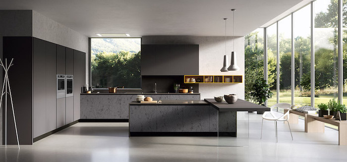 black cabinets and counters, kitchen ideas, grey marble kitchen island, yellow shelf