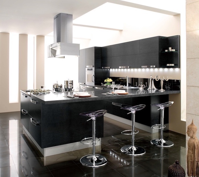 black cabinets and drawers, grey counters, metal bar stools, kitchen decor ideas, tiled floor