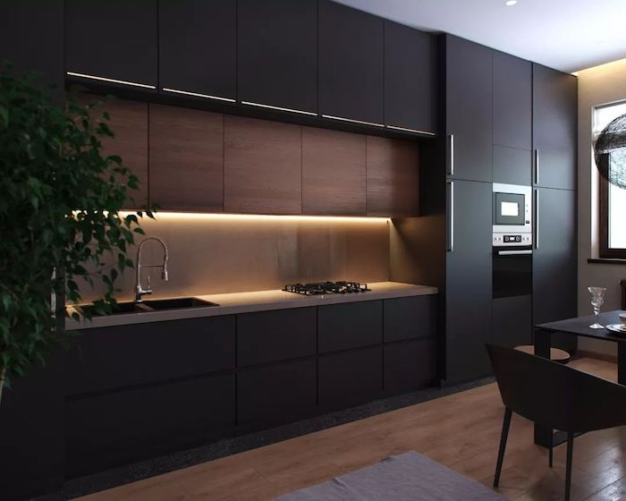 black cabinets and drawers, wooden cabinets and counter, beautiful kitchens, wooden floor
