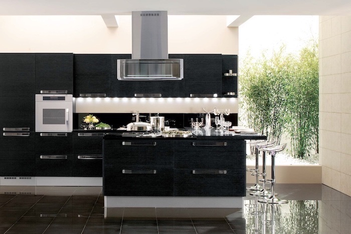 black tiled floor, kitchen decor ideas, black cabinets and drawers, grey counters, metal bar stools
