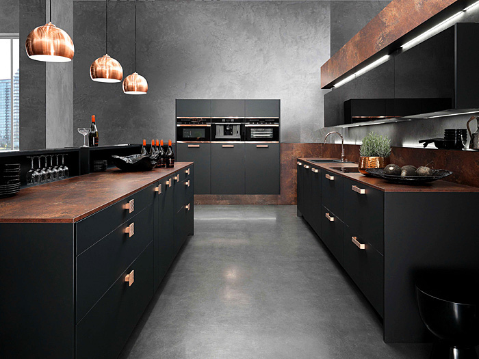 brown marble counters, brass handles and lamps, kitchen design ideas, black cabinets and drawers