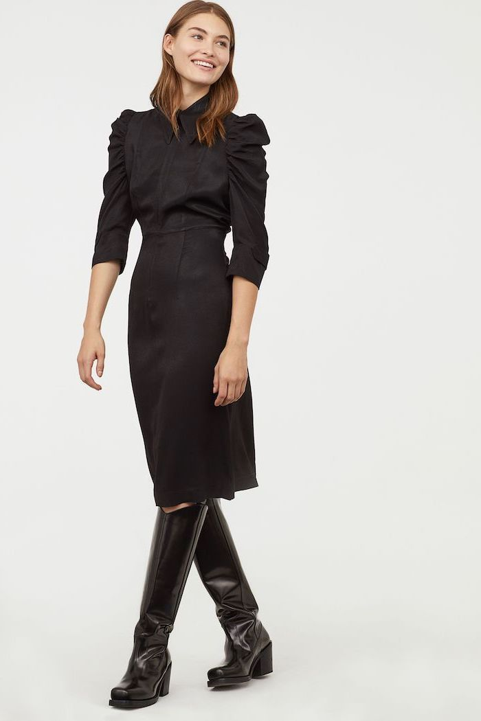 black dress, black boots, short brown hair, business casual female