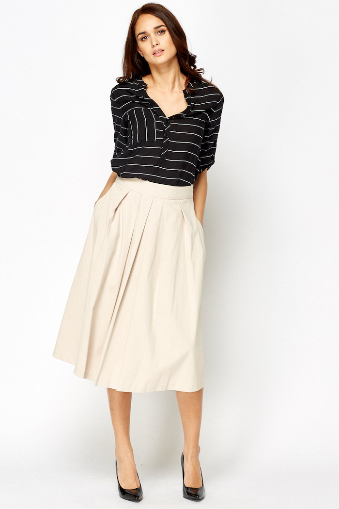 black and white stripe top, beige midi skirt, womens business casual clothing, black pointed heels