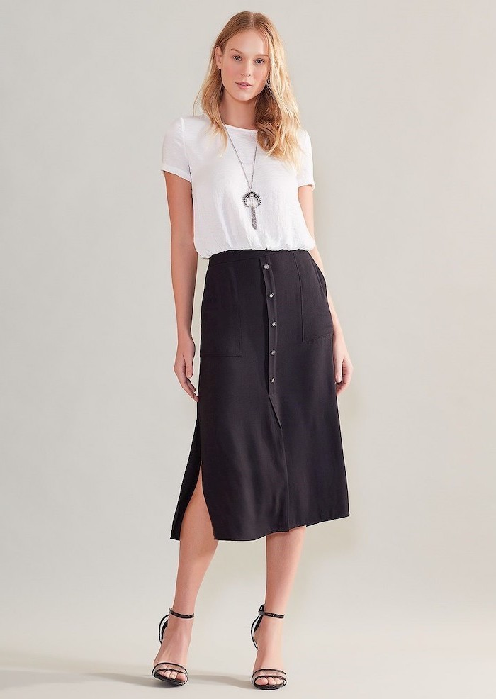 black midi skirt, white shirt, black open toe shoes, outfit casual