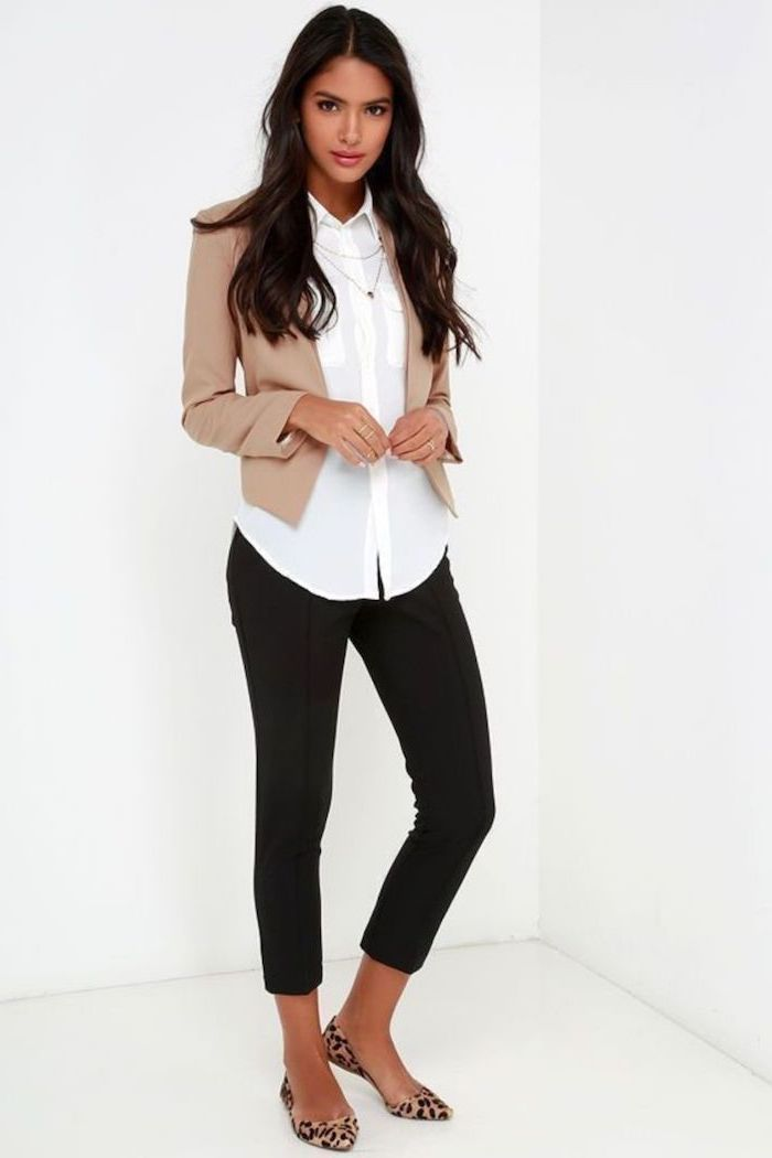 leopard print flat shoes, black trousers, what is business casual for women, white shirt, beige blazer