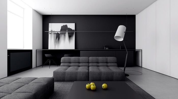 grey sofas, wall treatments, black wall with an abstract paintings, grey floor
