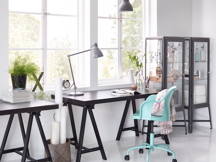blue metal chair, two wooden desks, small office ideas, two glass bookcases, white walls and floor