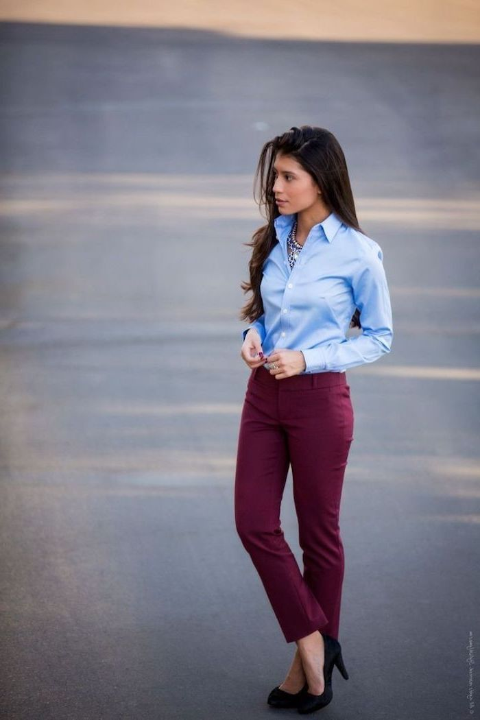 burgundy trousers, black heels, what is casual dress, blue shirt, long black hair