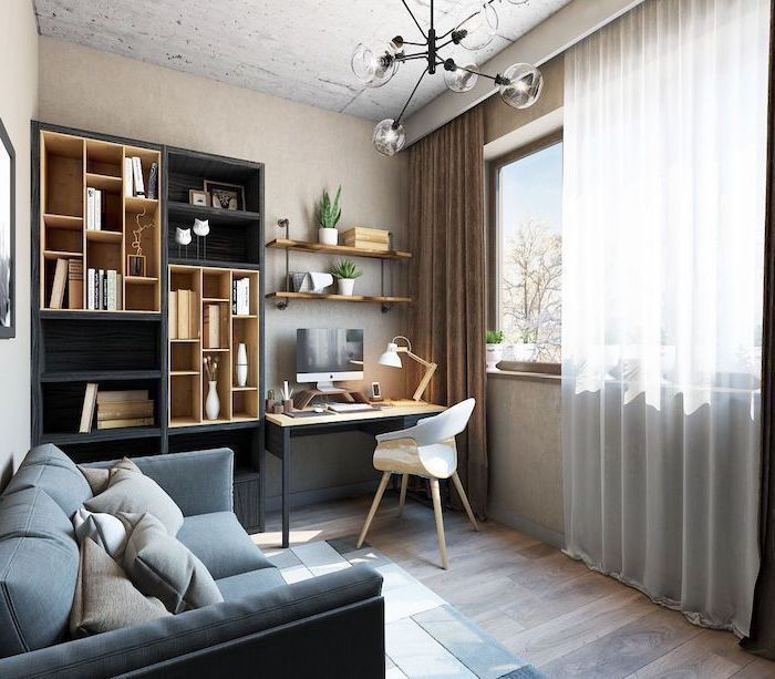 modern home office, grey sofa, wooden bookcase and desk, small white chair, hanging wooden bookshelves