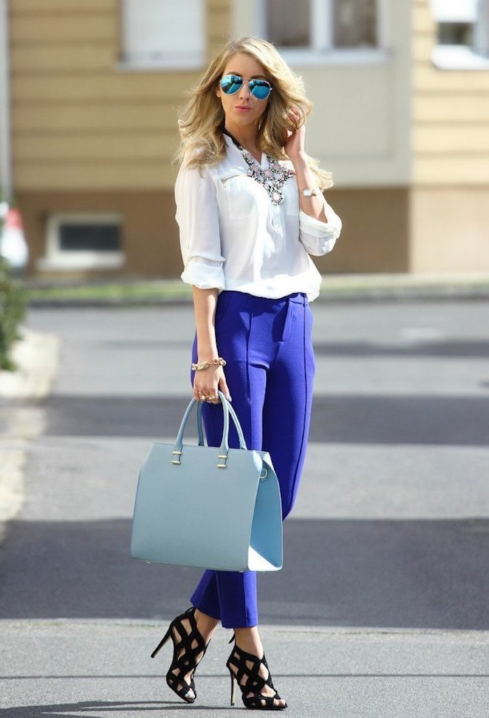 light blue leather bag, blue trousers, summer business casual, white shirt, black open toe high heels