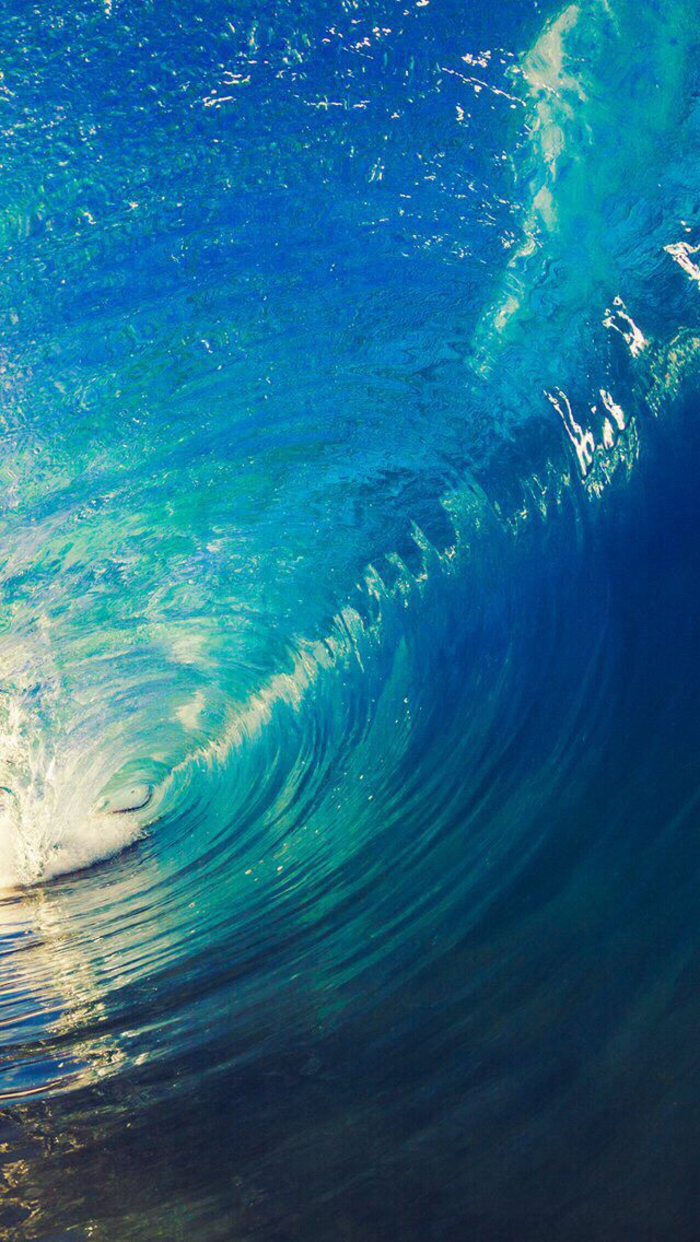 large blue turquoise wave, cool iphone backgrounds