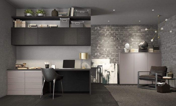 black cupboards and bookshelves, modern home office, white drawers, black chair, brick wall