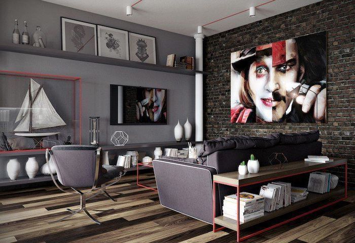 johnny depp characters painting, accent wall ideas, grey sofa and armchair, brick wall