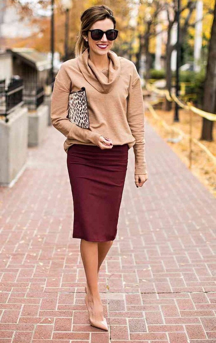 burgundy pencil skirt, nude pointed shoes, business wear for women, beige blouse, leopard print clutch