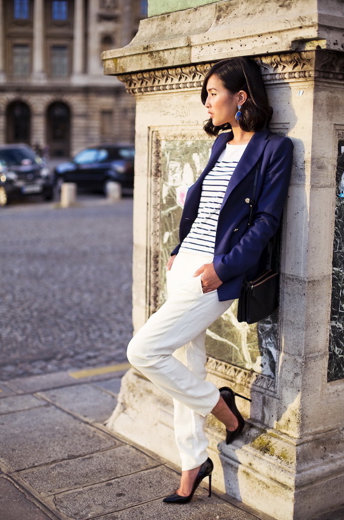 black shoes, womens business casual clothing, white trousers, white and black stripe top, navy blazer