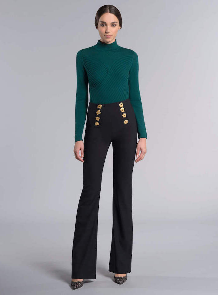 green turtleneck, what is business casual for women, high waist black trousers, black pointed heels