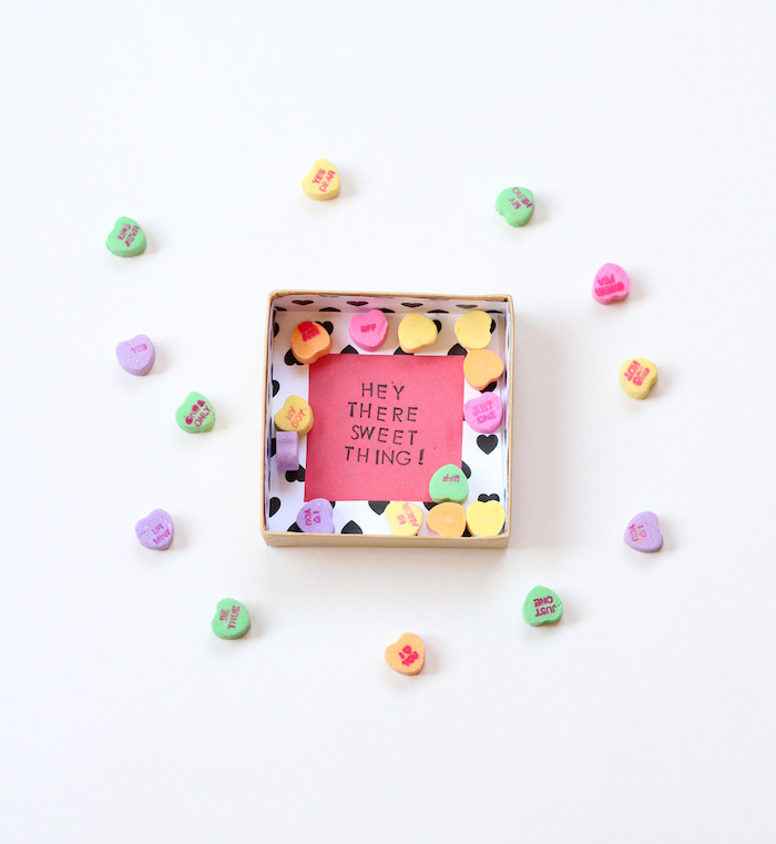 hey there sweet thing message in a box, cardboard box, conversation hearts, gift basket ideas for boyfriend