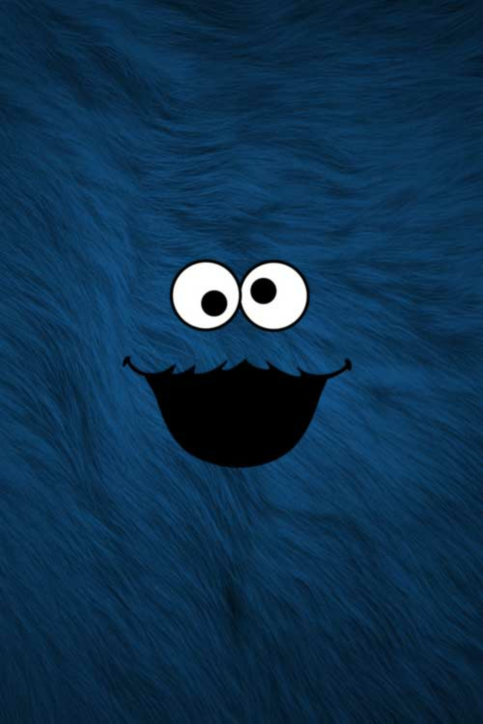 cookie monster, iphone backgrounds, blue fuzzy background, eyes and a smile