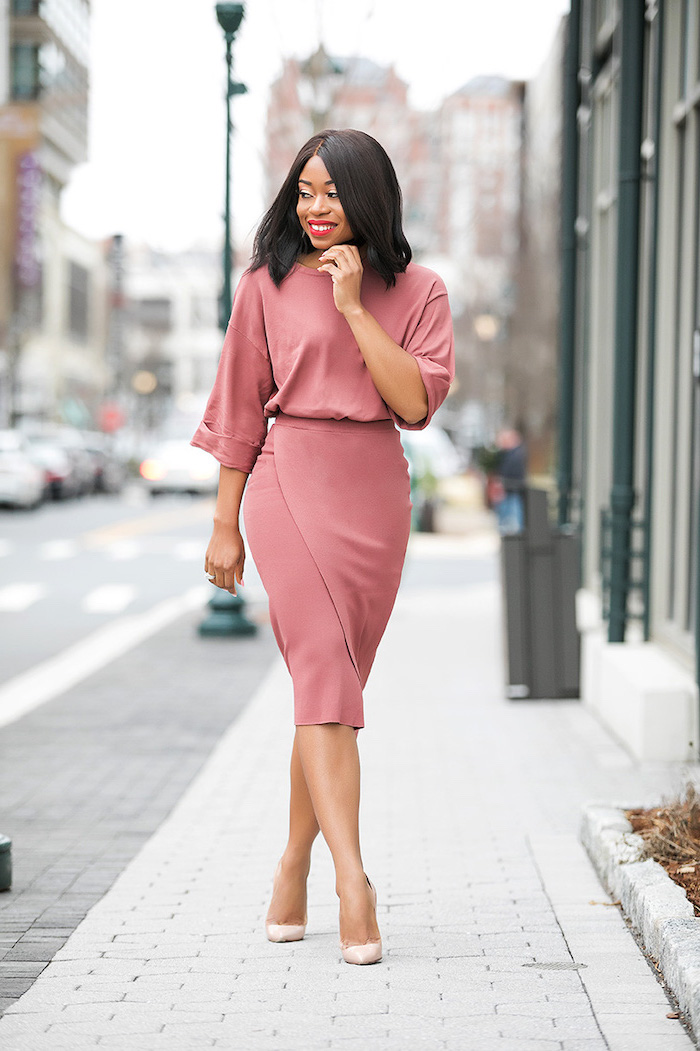 coral dress, nude shoes, red lipstick, business attire for women, short brown hair