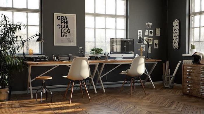 black walls, wooden desks, white chairs and stools, modern home office, desktop computer