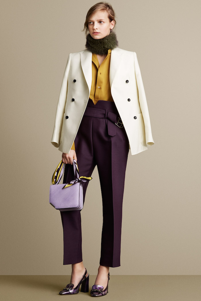 dark purple trousers and shoes, light purple leather bag, white blazer, mustard yellow shirt, summer business casual