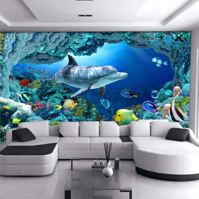 white and black corner sofa, glass coffee table, living room wall colors, dolphin underwater life wallpaper