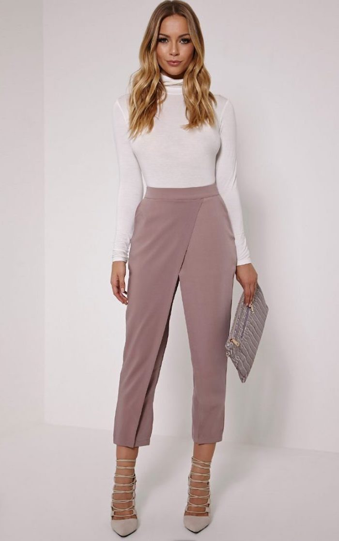 business casual attire, dusty rose bonded trousers, white turtleneck, nude high heels