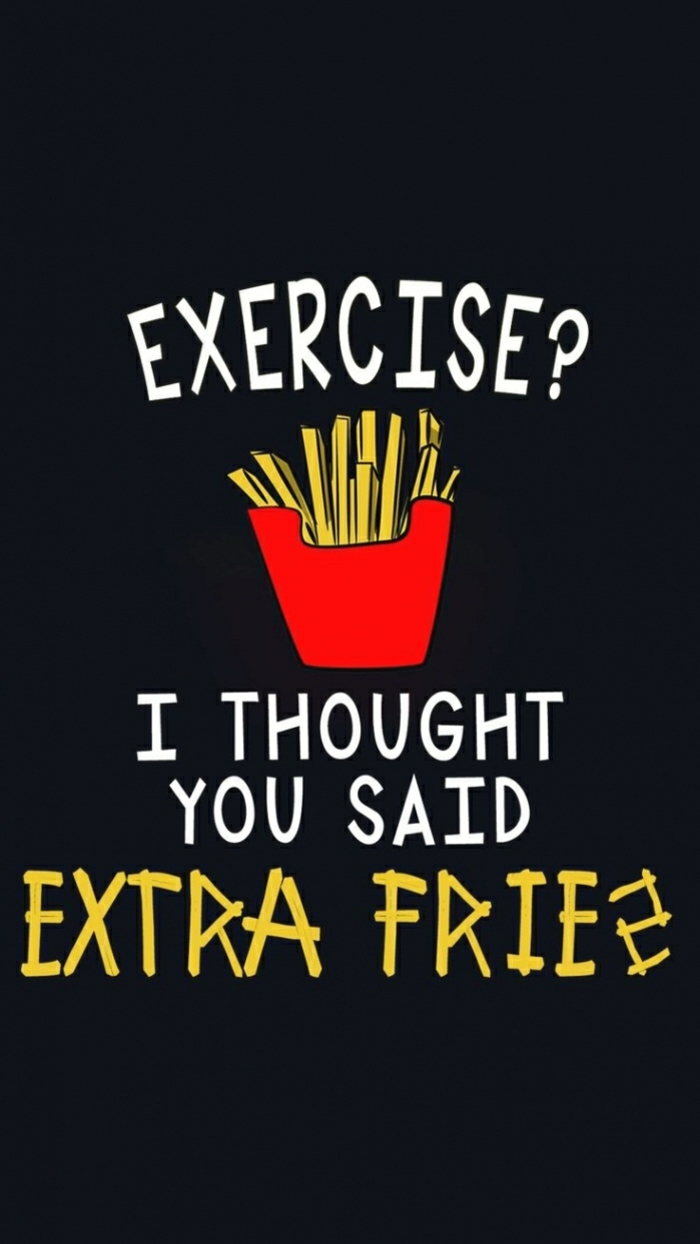 exercise i though you said extra fries, inspirational wallpapers, french fries in a red box, black background