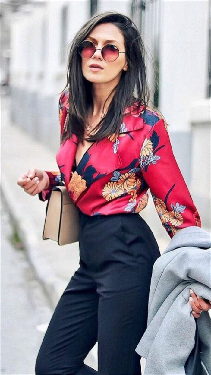 what is business casual, floral shirt, black high waist trousers, beige clutch, grey coat