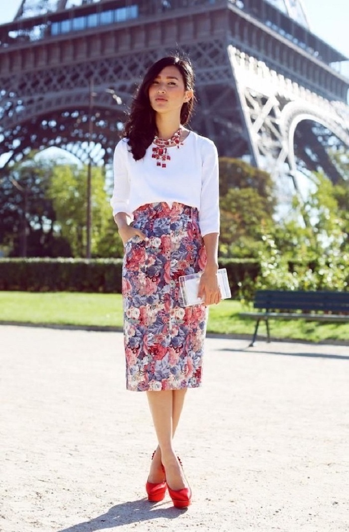 white shirt, red high heels, business wear for women, floral pencil skirt, small white purse