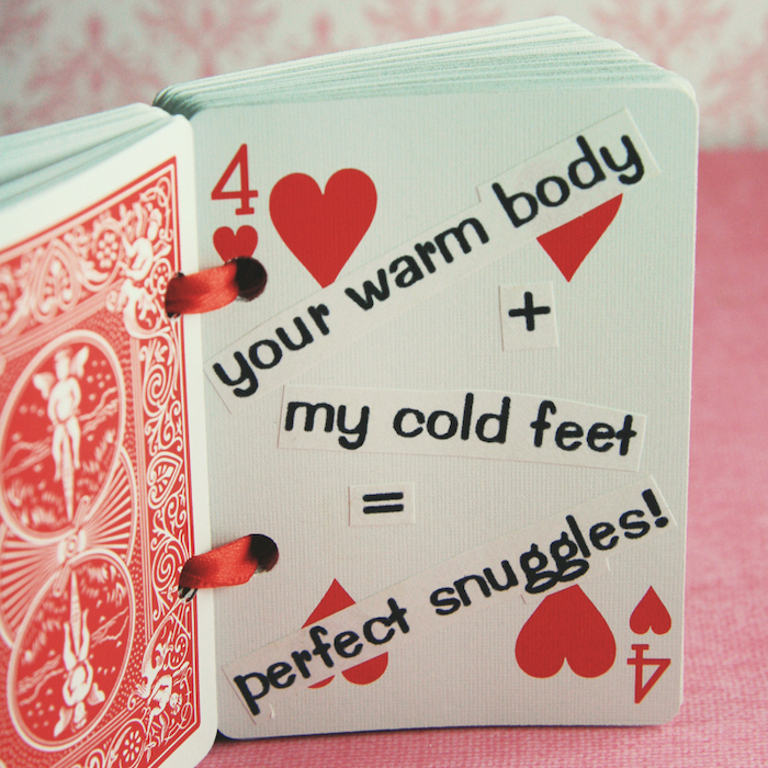 perfect snuggles, deck of cards, four of hearts, special message, romantic homemade gift ideas for boyfriend