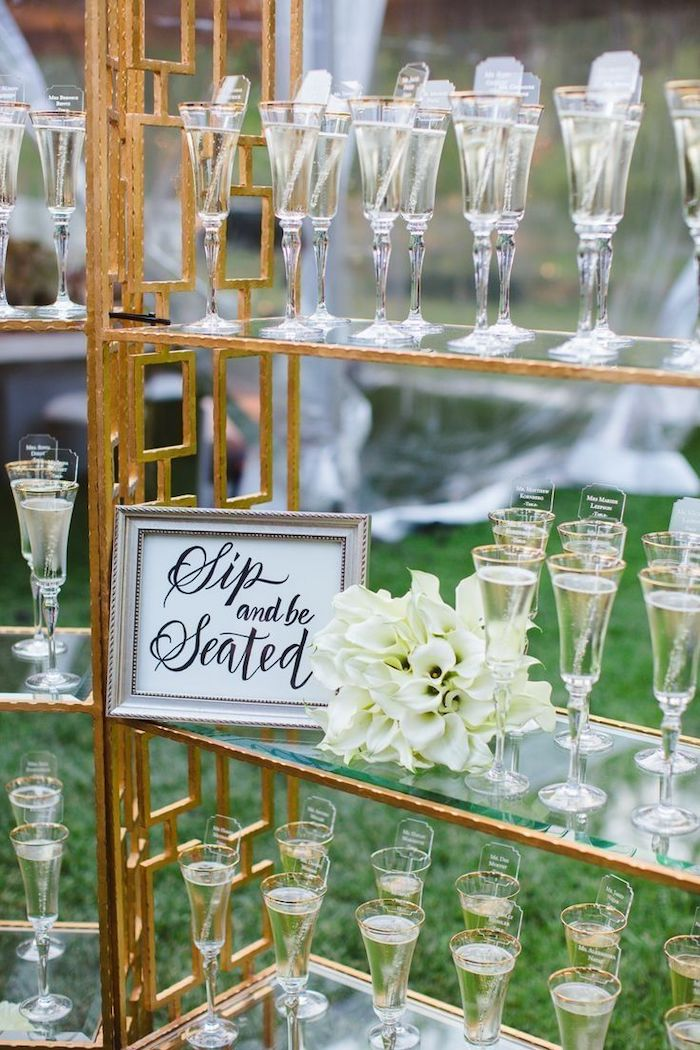glasses with champagne on shelves, wedding table decoration ideas