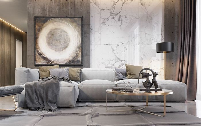 marble and wood tiles on the wall, abstract painting, living room paint ideas, grey corner sofa
